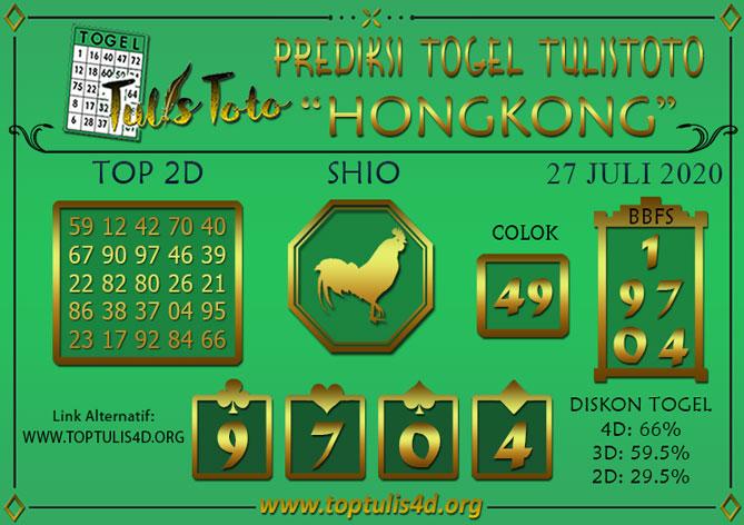 Prediksi Togel HONGKONG TULISTOTO 27 JULI 2020
