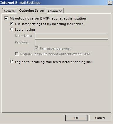 Chuyển sang tab Outgoing Server
