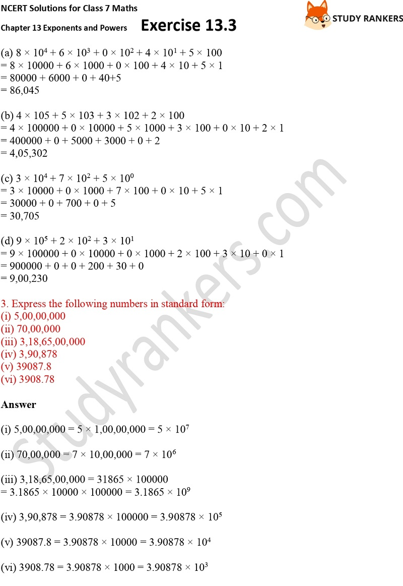 NCERT Solutions for Class 7 Maths Ch 13 Exponents and Powers Exercise 13.3 Part 2