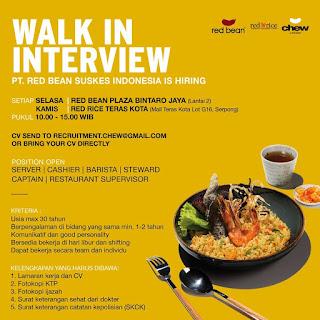Info Lowongan Kerja Kasir Restoran Red Bean Tangerang