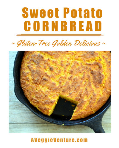 Sweet Potato Cornbread ♥ AVeggieVenture.com. Gorgeous golden color from a pile of sweet potatoes. Naturally wheat-free, gluten-free, no unusual ingredients.