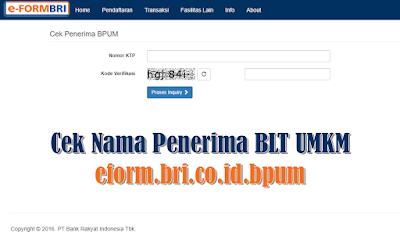 Cek Nama Penerima BLT UMKM eform.bri.co.id.bpum