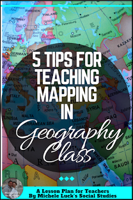 Easy to implement ideas and tips for Teaching Geography in the middle or high school classroom with lesson plan suggestions, websites to use, and activities to make learning more engaging. This part of the series focuses on mapping practice.