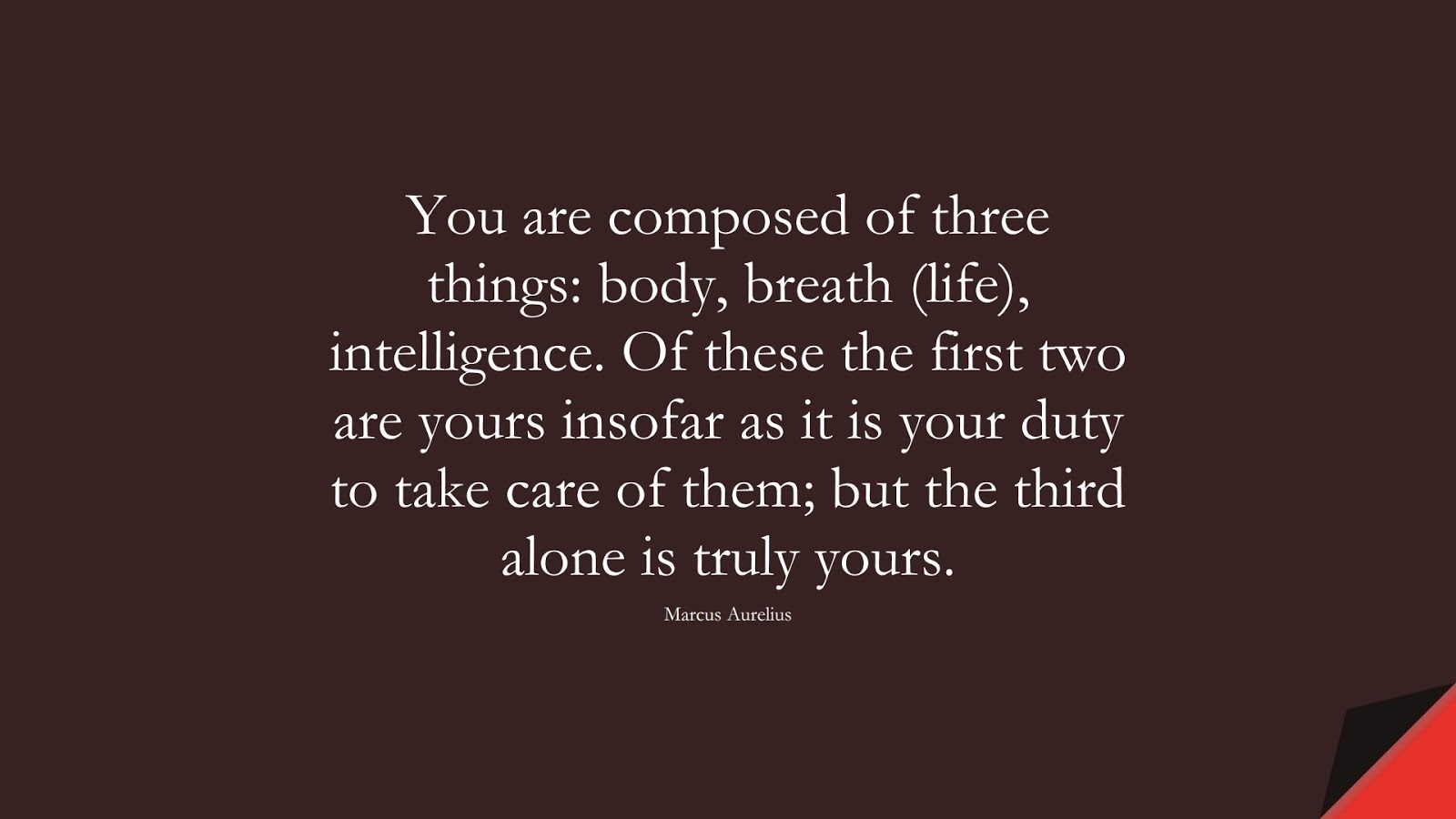 You are composed of three things: body, breath (life), intelligence. Of these the first two are yours insofar as it is your duty to take care of them; but the third alone is truly yours. (Marcus Aurelius);  #MarcusAureliusQuotes