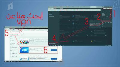 الطريقة الثالثة وهي بإضافة آداة VPN الي متصفحك VPN Extension