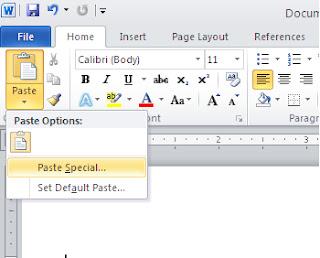 اختيار paste special  في برنامج مايكروسوفت وورد في ويندوز