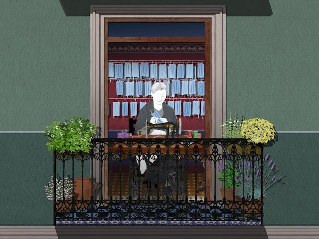 mujer, cosiendo, mascarillas, balcon