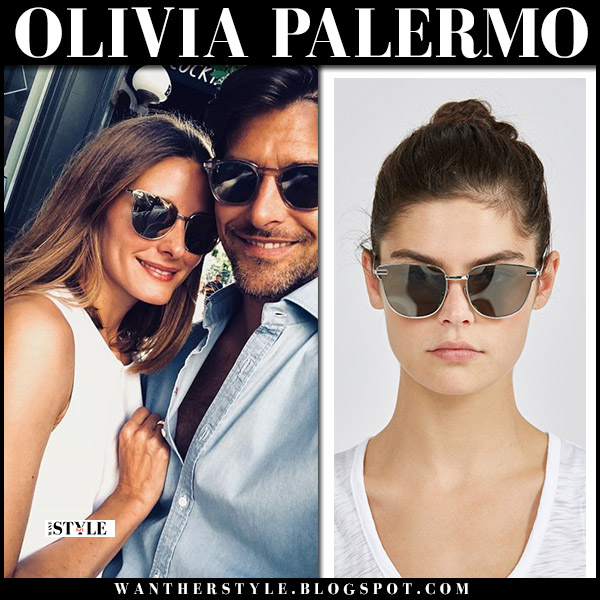 Olivia Palermo with mirrored cat eye sunglasses le specs pharaoh summer style august 12