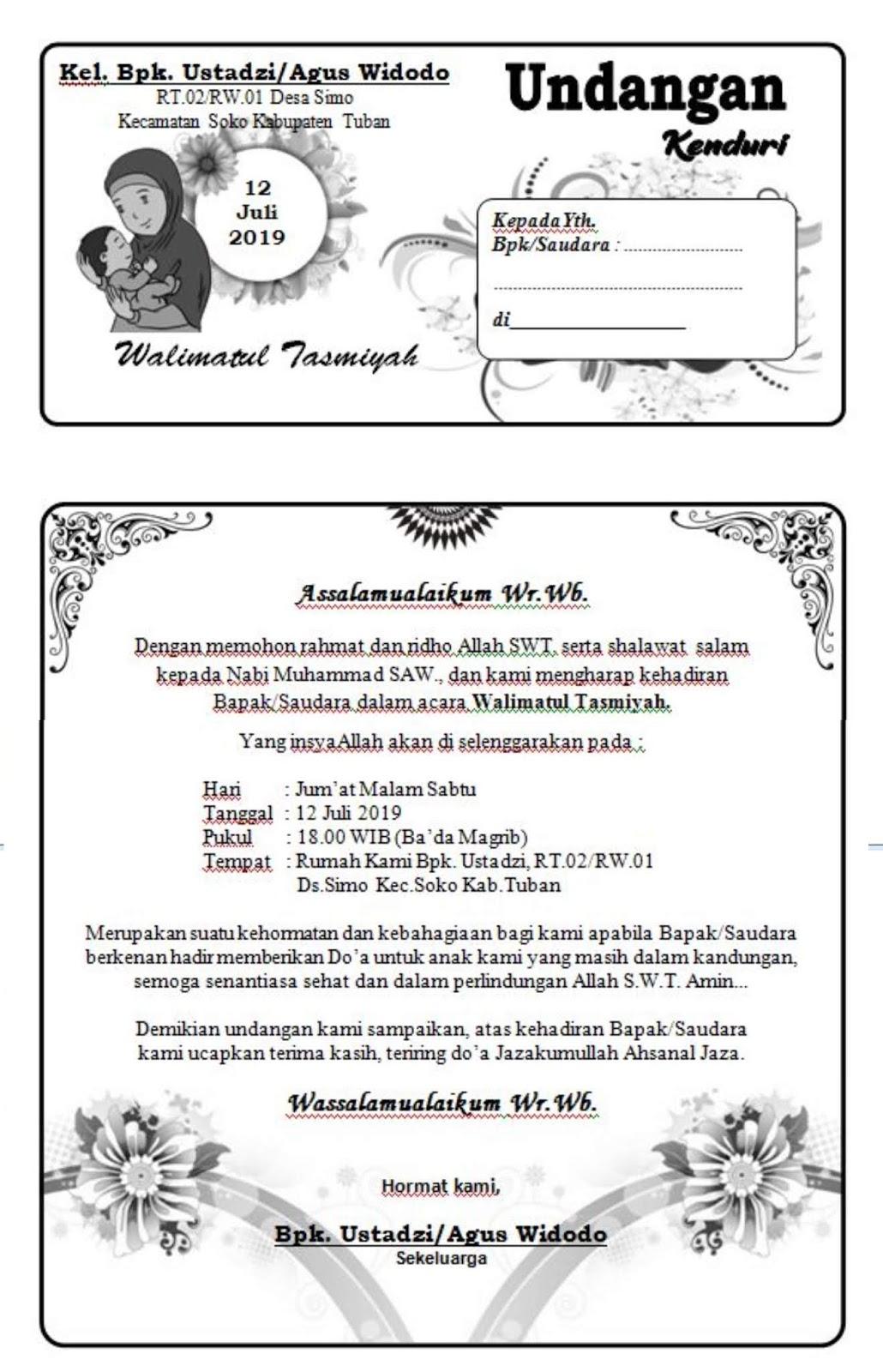Download Undangan Tasyakuran Walimatul Tasmiyah   Mas Rikhi Web