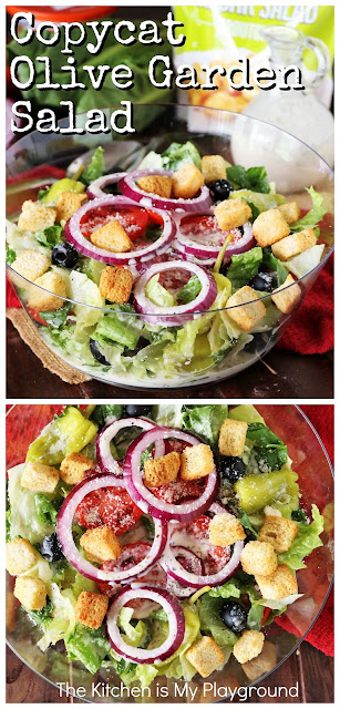 Copycat Olive Garden Salad & Dressing ~ Love Olive Garden salad? Enjoy it at home! With this copycat recipe, you can easily whip up a bowl of this restaurant favorite yourself and enjoy it at home.  It's the perfect salad to go with just about any everyday meal. #olivegardensalad #copycatolivegardensalad #saladrecipe  www.thekitchenismyplayground.com