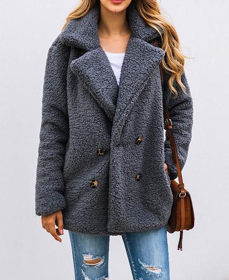 Elegant Grey Faux Fur Coats For Women