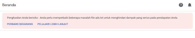 Notifikasi Penghasilan Anda Beresiko pada Dashboard AdSense