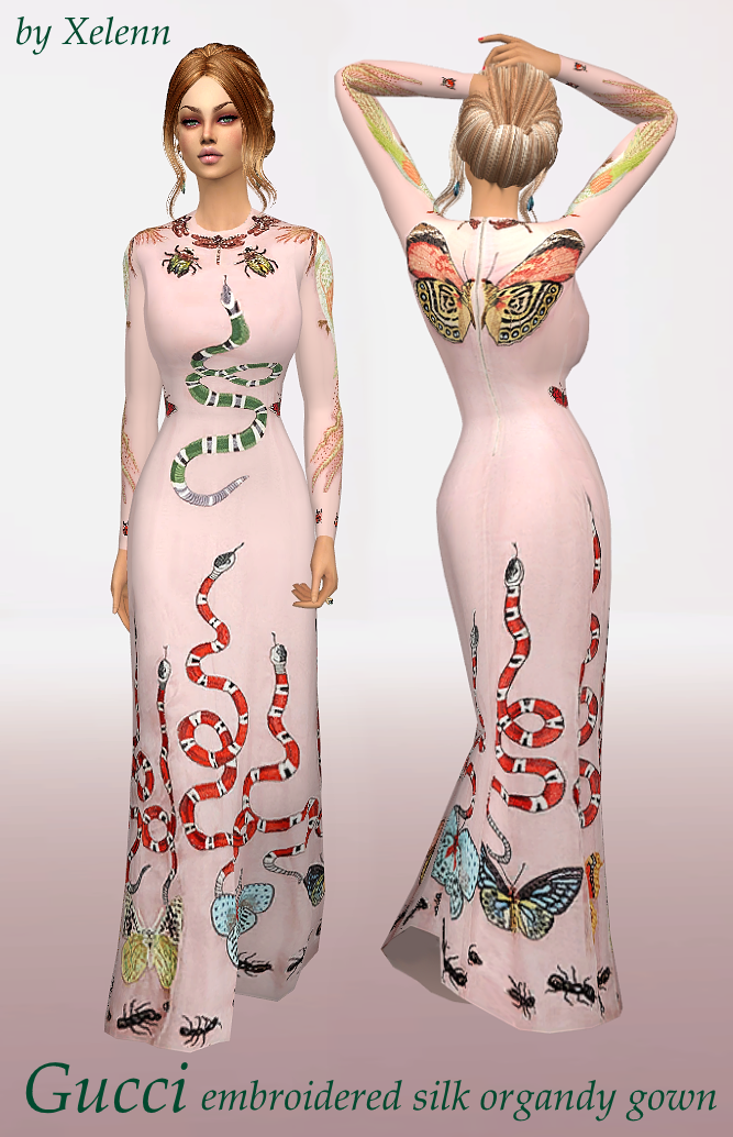My Sims 4 Blog Gucci Embroidered Silk Gown By Xelenn