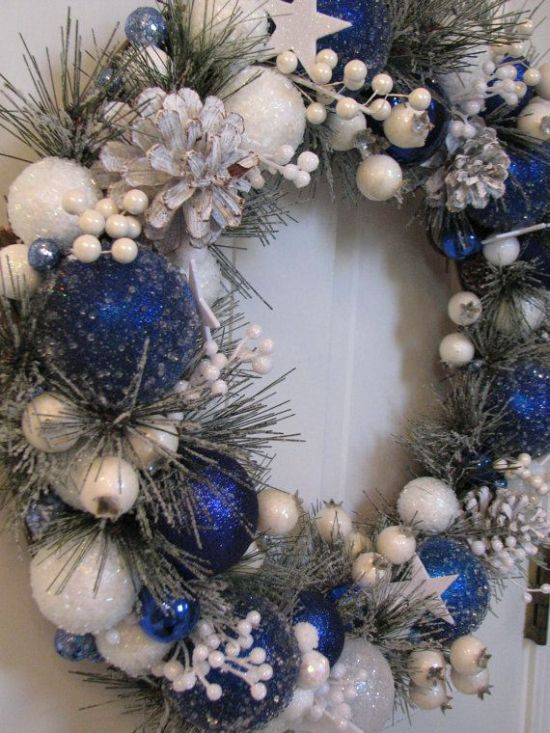 blue and white christmas door wreath