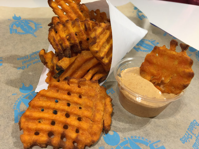 Baked sweet potato waffle fries at 3 Potato 4 in Pleasanton, California