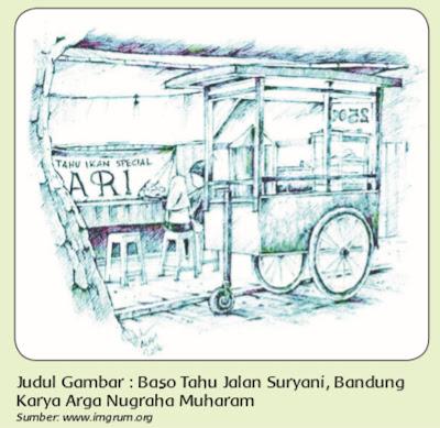 contoh gambar cerita teknik kering ( krayon )