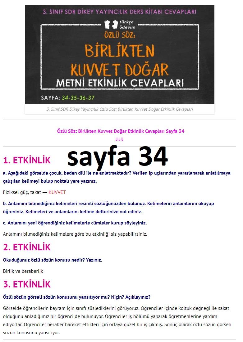 3. Sınıf Türkçe Çalışma Kitabı Cevapları Dikey Yayınları Sayfa 34