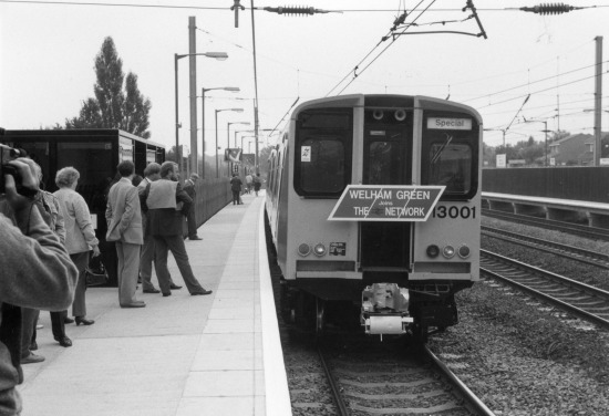 Photograph of the first train to leave the new Welham Green station on Monday 29 September 1986. Image from Ron Kingdon