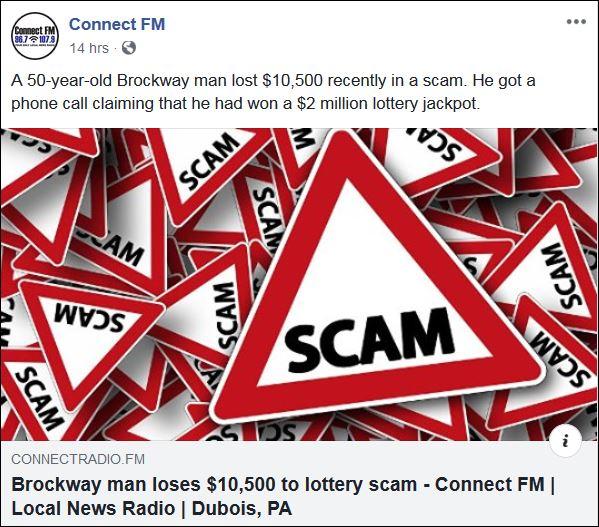 https://l.facebook.com/l.php?u=https%3A%2F%2Fwww.connectradio.fm%2F2019%2F06%2F27%2Fbrockway-man-loses-10500-to-lottery-scam%2F%3Ffbclid%3DIwAR1Ifu50nzX_ifhzwFGjHZ9ShUoCg-dsh4oal6or1Mq_pyRBTsI5SfSKH0Q&h=AT3kESSna-CltcyN0M3ZEIZSPq1QWxMSRxRxsp-cJGKNfIOXllxXhuH96DG4irdioSUwQ0FsNnriUJaqqJtcGAWrq4m0ZucscFXd-L9J2oFAZ0ELETmMz-EAaXXKZ3zbY2YglnPlVhIl9E7Hvnl-nD-Jy-FgoIjXpILv0Ggh1goCBGqYDrUOTIKnHYQJXaSDvfYdMPWxp-ewynsel9hBoKOIO89sc157LcokNftGH_v0kGSKXAnzcFfrb-Ym2oZNHQUcETyWdS_vobqi9RZWrlvvoV8xYF3GR4SeOrU181VjpOZg-mr7t7VqOGBUcjG74eKDonUoTJAKgsWrFhbGhtOfFls7Q8-mehTpANV4UjXlP9jT9-ekSecPkH4nVGI1PtW2UlpXxQoxHcTFqafsTlsYBDKuWdI2F9_HKT9RpNgsGZw0oRMc9Mjj93FLkQ1kUyRtXfNtMpTs70oe6PiOgSSFaGF903krrGJoN4K-xN9NDOhGdOkV4ZO3tbsw1S5C-Bb0nTiB1Ja_fLQQhRvPy2eNoaOneqpLXzzlW6PZLMzjYVV7waHFw_amED7pnr22CyVNGowVUhRUAfZ_OBoSwdzioitbTqtQYQff0xeqziWws0RhCOoLKQkuCJoOKQT43a48JwCeCicxIbUl8x1sHJOTAjIEcg