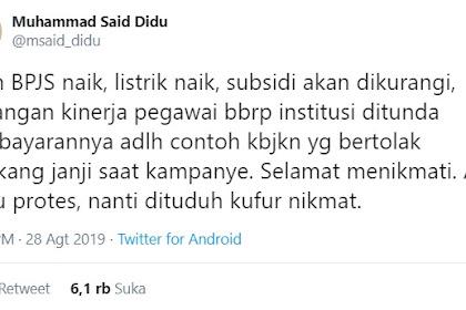 Said Didu: Iuran BPJS Naik Bertolak Belakang Janji Kampanye Jokowi
