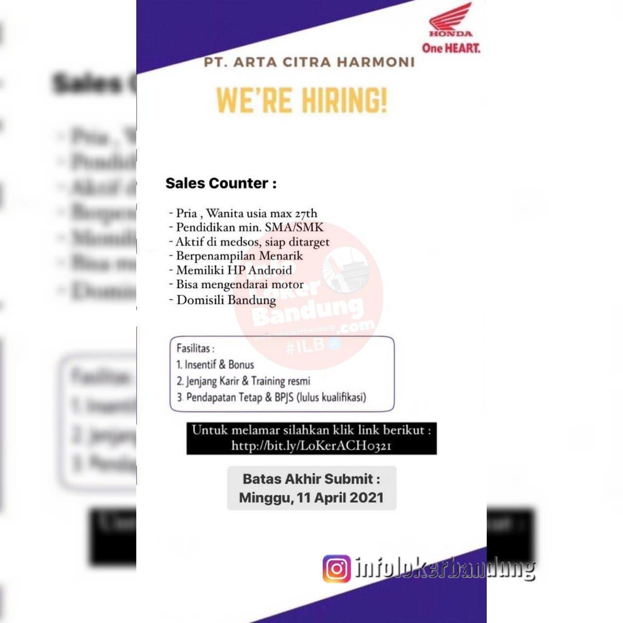 Lowongan Kerja PT.Arta Citra Harmoni ( Honda Aceh Motor ) Bandung April 2021