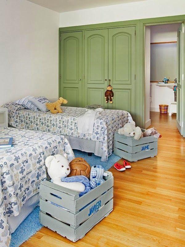 reutilizar caixotes de madeira quarto brinquedos