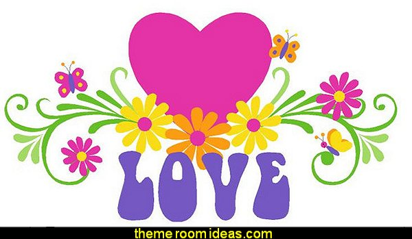 LOVE and Flowers, LG Wall Mural, Paint by Numbers  Groovy Funky Retro Bedrooms - 60s style theme decorating -  70s theme decorating - 70's Theme Decor - Funky Flower Power Bedrooms -  70s theme bedroom decorating - Psychedelic  Tie Dye Hippie Hippy style flower power era - Retro groovy peace sign decor - hippie decor - Retro 60s Groovy 70s  Psychedelic hippie Costumes