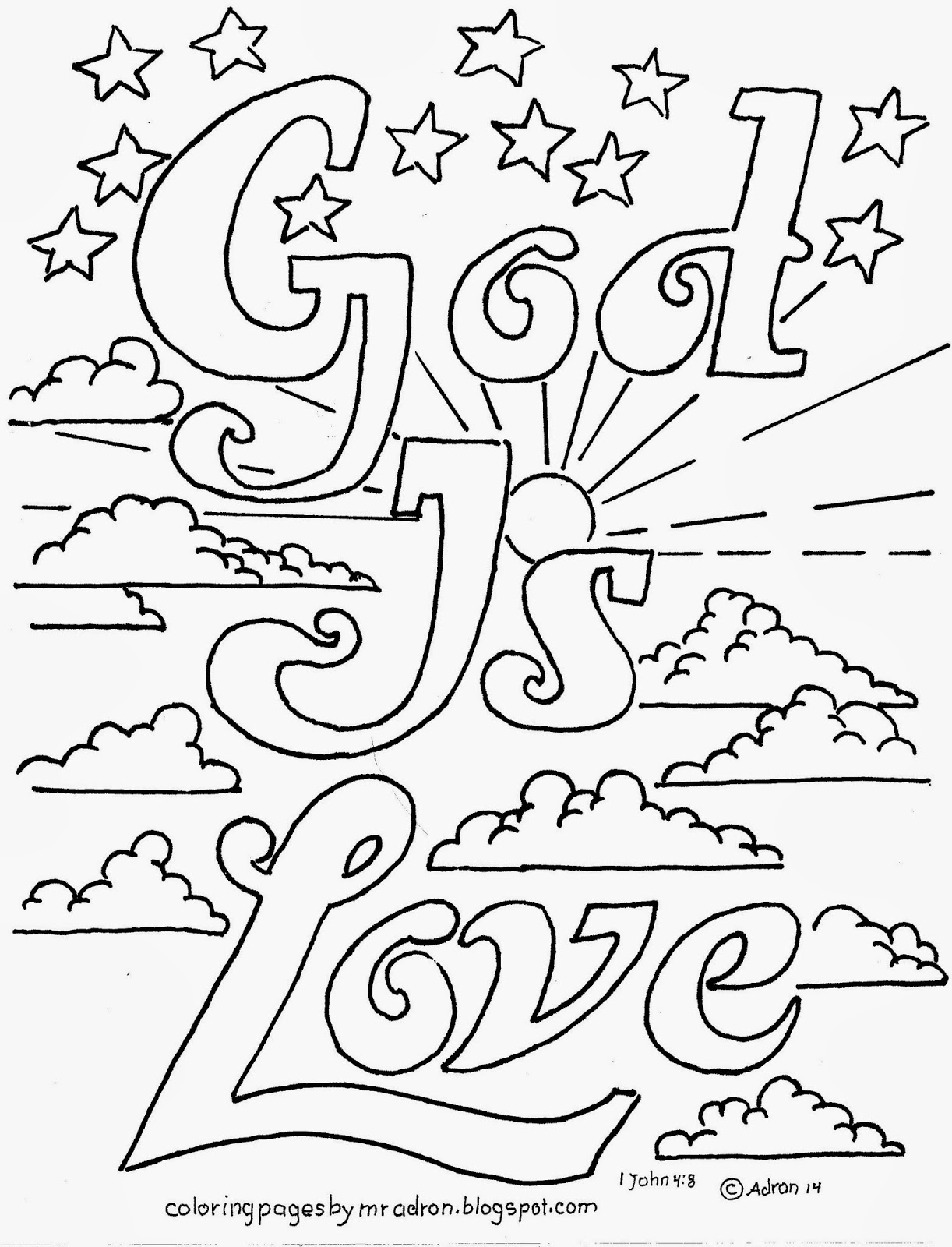 Coloring pages for john 9 - God Is Love 1 John 4 8 Coloring Page