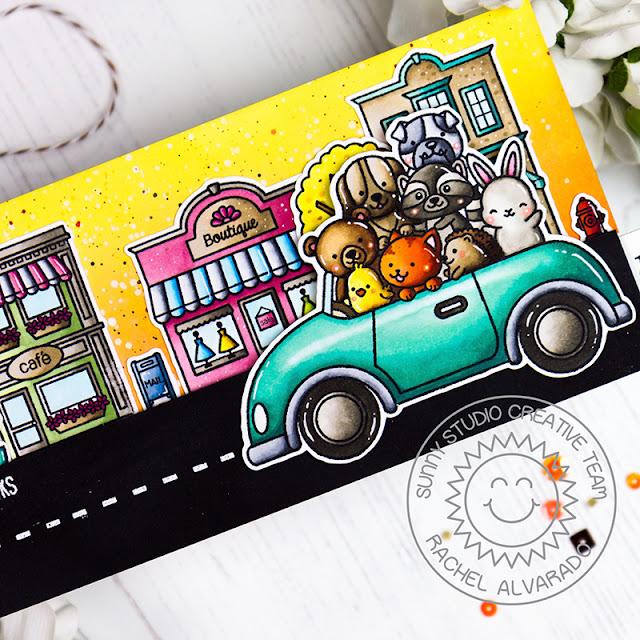 Sunny Studio Stamps: Cruising Critters Happy Home City Streets Interactive Card by Rachel Alvarado