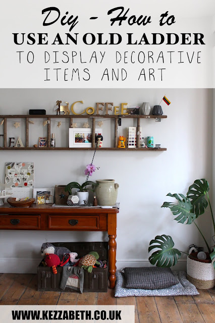 How to Use an Old ladder to display decorative items and artwork