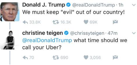 Chrissy Teigen serves epic clapback on Donald Trump