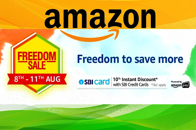 Amazon.in Freedom Sale 2019 + 10% Instant Discount with SBI Credit Card Amazon's Freedom Cell 2019 has been announced, which will run from 08 to 11 August 2019, the Amazon Freedom Cell will last four days. Amazon will give great deals on mobile, electronics, laptops, fashion, home products and more.