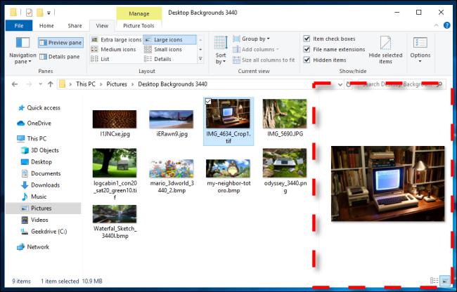 مثال على جزء المعاينة في مستكشف ملفات Windows 10