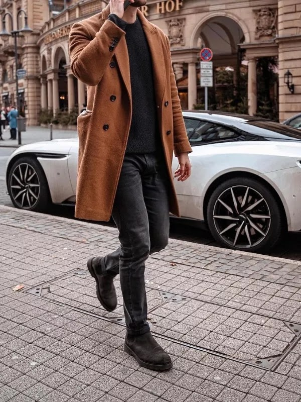 Sweatshirts and overcoat outfit