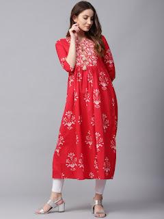 Jaipur Kurti Women Red Printed A-Line Kurta
