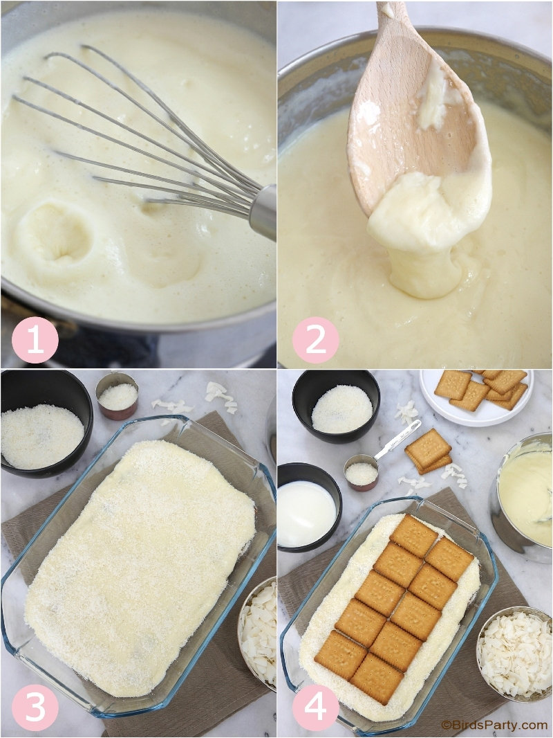 No-Bake Coconut Pudding Recipe - a quick, easy and delicious dessert recipe for any occasion or dinner party your may be hosting this season! by BirdsParty.com @birdsparty #hispanicheritagemonth #publix #coconut #coconutpudding #nobakedessert #desserts #recipe #iceboxcake #coconutdessert #coconuticeboxcake