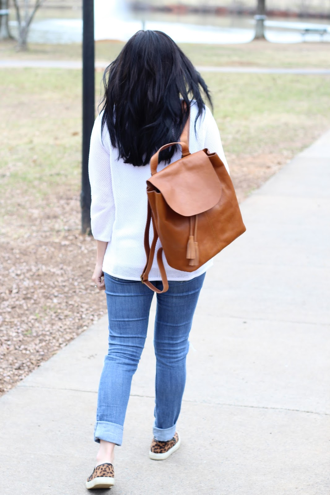 Mom style, leather cognac backpack, #jjillstyle