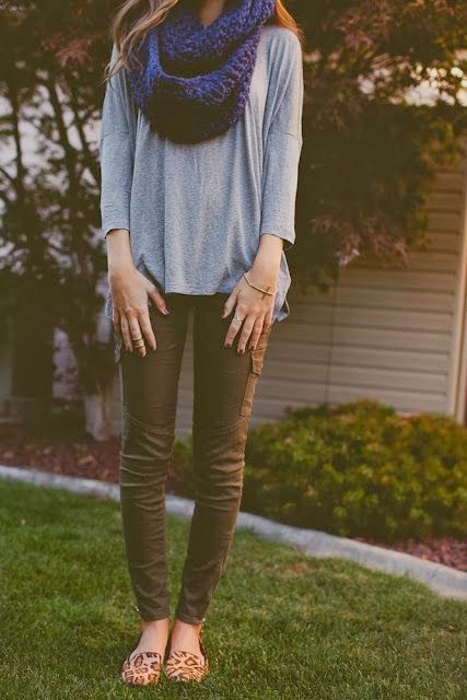 Women's Fashion navy blue infinity scarf + gray tee + army green pants + cheetah print shoes