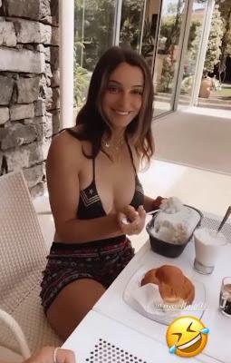 Rossella Fiamingo amica di Diletta Leotta caffè e gelato in giardino