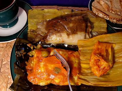 Clockwise from top: Sweet Tamal - Chuchito - Savory Tamal