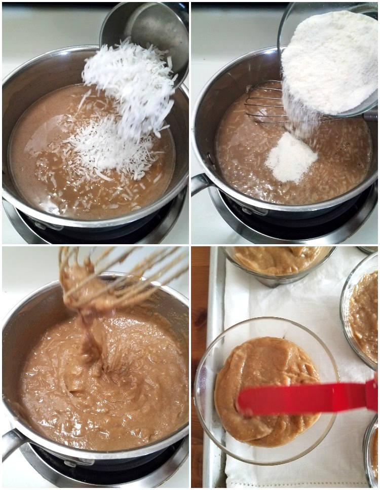 Cómo hacer majarete: agregar el coco rallado y harina de maíz precocida