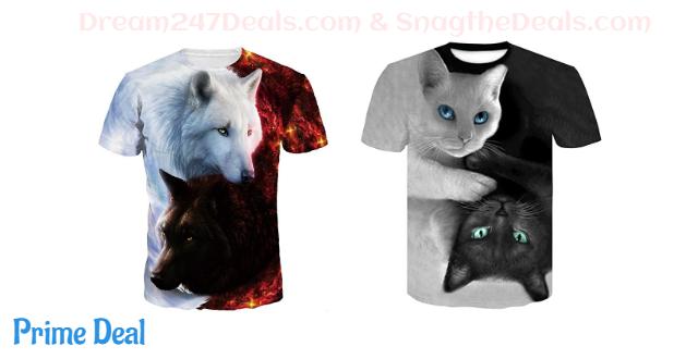 Volanic Unisex Stylish 3D Printed Graphic Short Sleeve T-Shirts for Women Men