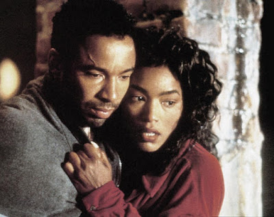 Allen Payne with his co-actor acting in a movie