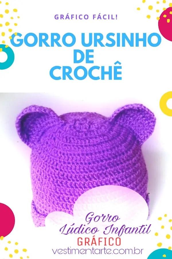 Gorro Lúdico de Crochê Infantil Ursinho - Gráfico Grátis