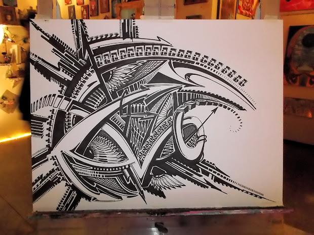 Pinstripe Chris Sharpie Art Live Sev Ven Show