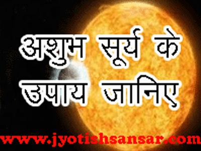 ashubh surya ko kaise shanti kare