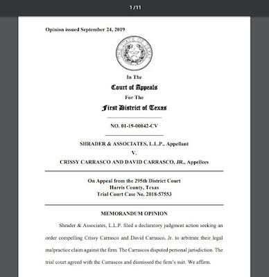 01-19-00042-CV SHRADER & ASSOCIATES, LLP v. Carrasco, Tex_ Court of Appeals, 1st Dist. 2019