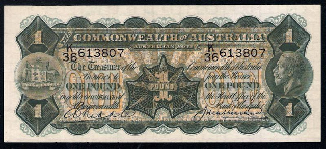 Australian currency banknotes One Pound note 1927 King George V