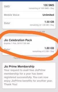 Jio Give Celebration pack offers 10 gb free every User
