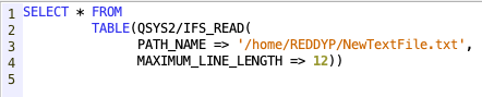 Read IFS file from SQL